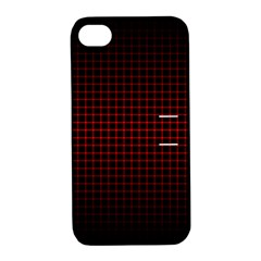 Optical Illusion Grid in Black and Red Apple iPhone 4/4S Hardshell Case with Stand