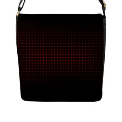 Optical Illusion Grid in Black and Red Flap Messenger Bag (L)