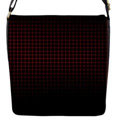 Optical Illusion Grid in Black and Red Flap Messenger Bag (S)