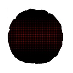 Optical Illusion Grid in Black and Red Standard 15  Premium Flano Round Cushions
