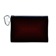 Optical Illusion Grid in Black and Red Canvas Cosmetic Bag (M)