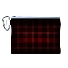 Optical Illusion Grid in Black and Red Canvas Cosmetic Bag (L)