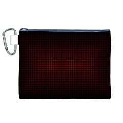 Optical Illusion Grid in Black and Red Canvas Cosmetic Bag (XL)