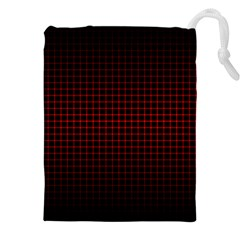 Optical Illusion Grid in Black and Red Drawstring Pouches (XXL)