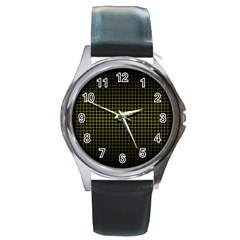 Optical Illusion Grid in Black and Yellow Round Metal Watch