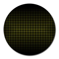 Optical Illusion Grid In Black And Yellow Round Mousepads