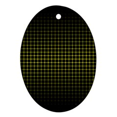 Optical Illusion Grid in Black and Yellow Ornament (Oval)