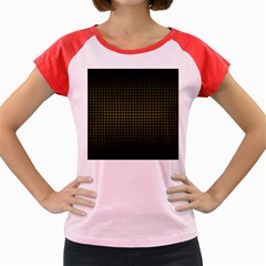 Optical Illusion Grid in Black and Yellow Women s Cap Sleeve T-Shirt
