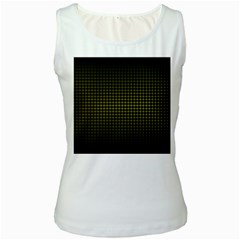Optical Illusion Grid in Black and Yellow Women s White Tank Top