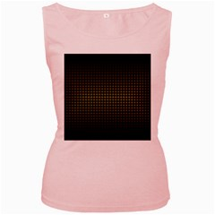 Optical Illusion Grid in Black and Yellow Women s Pink Tank Top