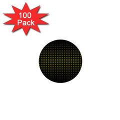 Optical Illusion Grid in Black and Yellow 1  Mini Buttons (100 pack)