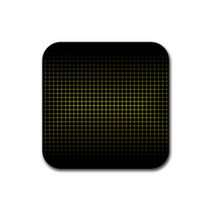 Optical Illusion Grid in Black and Yellow Rubber Square Coaster (4 pack)