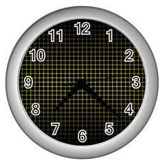 Optical Illusion Grid in Black and Yellow Wall Clocks (Silver)