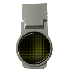 Optical Illusion Grid in Black and Yellow Money Clips (Round)