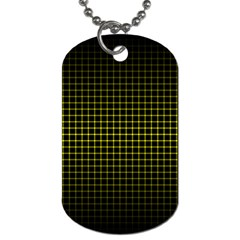 Optical Illusion Grid in Black and Yellow Dog Tag (One Side)