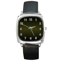 Optical Illusion Grid in Black and Yellow Square Metal Watch