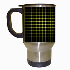 Optical Illusion Grid in Black and Yellow Travel Mugs (White)