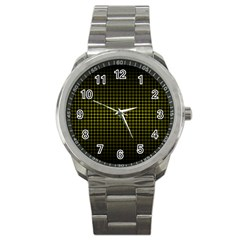 Optical Illusion Grid in Black and Yellow Sport Metal Watch