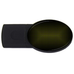 Optical Illusion Grid in Black and Yellow USB Flash Drive Oval (4 GB)