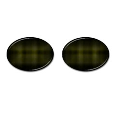 Optical Illusion Grid in Black and Yellow Cufflinks (Oval)