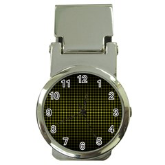 Optical Illusion Grid in Black and Yellow Money Clip Watches
