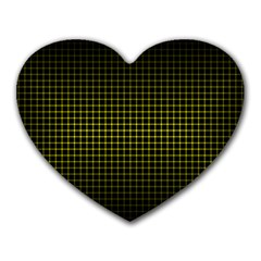 Optical Illusion Grid in Black and Yellow Heart Mousepads