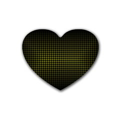 Optical Illusion Grid in Black and Yellow Rubber Coaster (Heart)