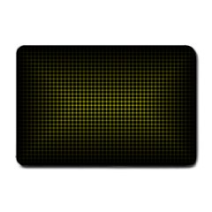 Optical Illusion Grid in Black and Yellow Small Doormat