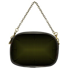 Optical Illusion Grid in Black and Yellow Chain Purses (One Side)
