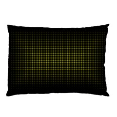 Optical Illusion Grid In Black And Yellow Pillow Case