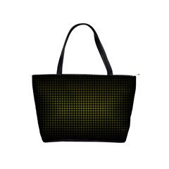 Optical Illusion Grid in Black and Yellow Shoulder Handbags