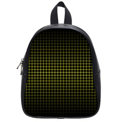 Optical Illusion Grid in Black and Yellow School Bags (Small)