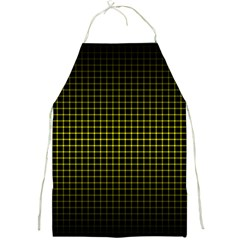 Optical Illusion Grid in Black and Yellow Full Print Aprons