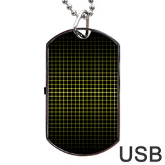 Optical Illusion Grid in Black and Yellow Dog Tag USB Flash (Two Sides)