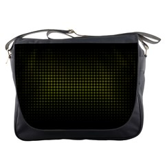 Optical Illusion Grid in Black and Yellow Messenger Bags