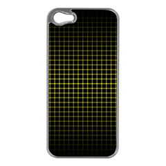 Optical Illusion Grid in Black and Yellow Apple iPhone 5 Case (Silver)