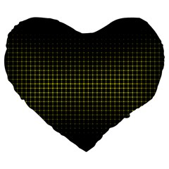 Optical Illusion Grid in Black and Yellow Large 19  Premium Heart Shape Cushions