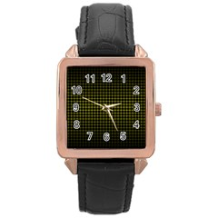 Optical Illusion Grid in Black and Yellow Rose Gold Leather Watch