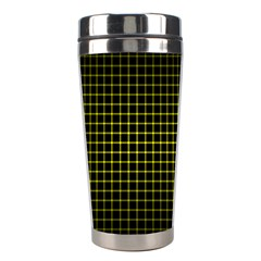 Optical Illusion Grid in Black and Yellow Stainless Steel Travel Tumblers