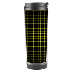 Optical Illusion Grid in Black and Yellow Travel Tumbler