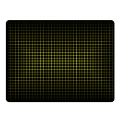 Optical Illusion Grid in Black and Yellow Double Sided Fleece Blanket (Small)