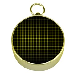 Optical Illusion Grid in Black and Yellow Gold Compasses