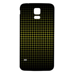 Optical Illusion Grid in Black and Yellow Samsung Galaxy S5 Back Case (White)