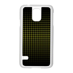 Optical Illusion Grid in Black and Yellow Samsung Galaxy S5 Case (White)