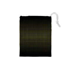 Optical Illusion Grid in Black and Yellow Drawstring Pouches (Small)