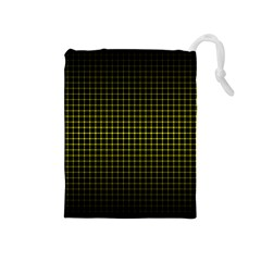 Optical Illusion Grid in Black and Yellow Drawstring Pouches (Medium)