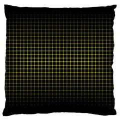 Optical Illusion Grid in Black and Yellow Large Flano Cushion Case (Two Sides)