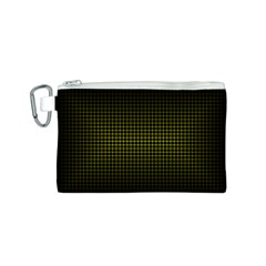 Optical Illusion Grid in Black and Yellow Canvas Cosmetic Bag (S)