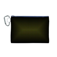 Optical Illusion Grid in Black and Yellow Canvas Cosmetic Bag (M)