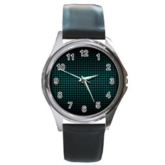 Optical Illusion Grid in Black and Neon Green Round Metal Watch